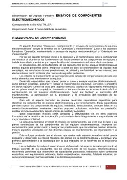 ENSAYOS de COMPONENTES ELECTROMECANICOS
