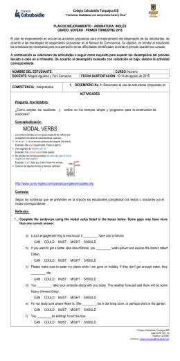 INGLÉS NOVENO II - Colegio Colsubsidio Torquigua IED