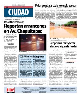 reportan arrancones en av. Chapultepec