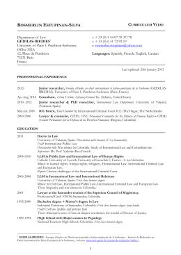 CV R. Estupinan-Silva GEDILAS - Université Paris 1 Panthéon