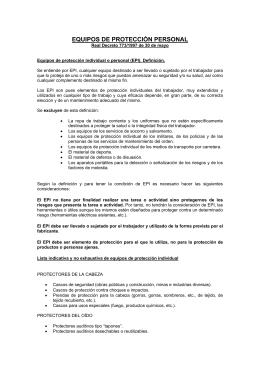 EQUIPOS DE PROTECCIÓN PERSONAL