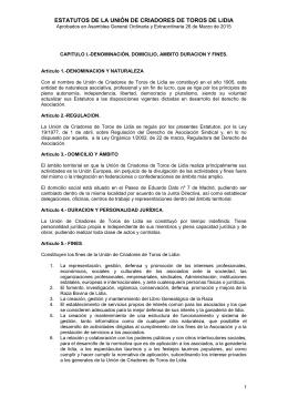 ESTATUTOS DE LA UNIÓN DE CRIADORES DE TOROS DE LIDIA