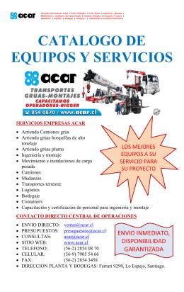 CATALOGO DE EQUIPOS Y SERVICIOS