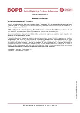 Dimarts, 2 de juny de 2015 ADMINISTRACIÓ LOCAL Ajuntament de