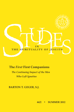 BARTON T. GEGER, SJ The First First Companions