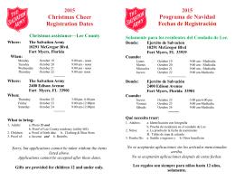 Christmas Cheer Registration Dates Programa de Navidad Fechas