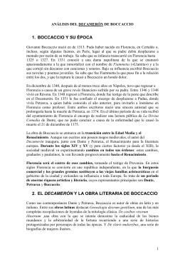 1. BOCCACCIO Y SU ÉPOCA 2. EL DECAMERÓN Y LA OBRA