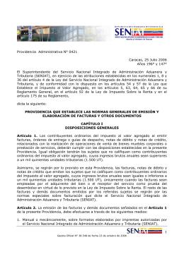 Providencia Administrativa N° 0421 Caracas, 25