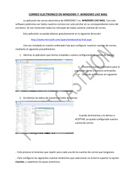 CORREO ELECTRONICO EN WINDOWS 7: WINDOWS LIVE MAIL