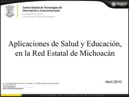 Aplicaciones de Salud y Educación, en la Red Estatal de Michoacán