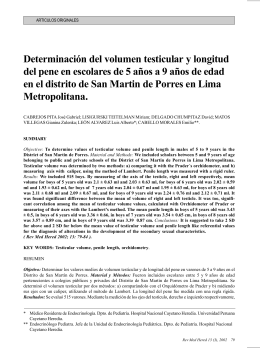 Determinación del volumen testicular y longitud del pene