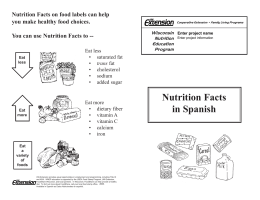 Nutrition Facts in Spanish - University of Wisconsin