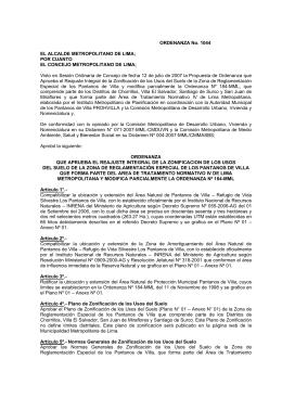 ORDENANZA No. 1044 EL ALCALDE METROPOLITANO DE LIMA