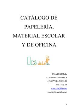 CATÁLOGO DE PAPELERÍA, MATERIAL ESCOLAR Y DE OFICINA