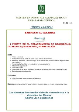 OFERTA LABORAL ACTAFARMA 01-02-13 MIFP