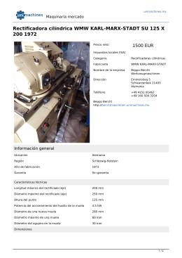 Rectificadora cilíndrica WMW KARL-MARX-STADT