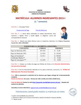 Matrícula de los alumnos ingresantes de Maestría