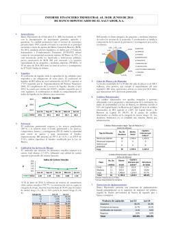 informe financiero trimestral al 30 de junio de 2014 de banco