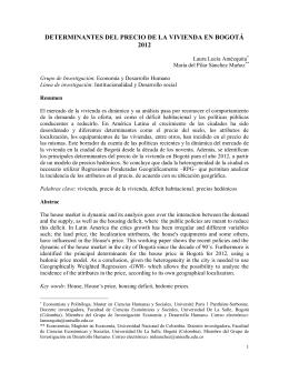 DETERMINANTES DEL PRECIO DE LA VIVIENDA EN BOGOTÁ 2012