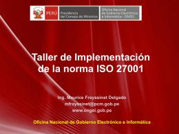 Taller de Implementación de la norma ISO 27001