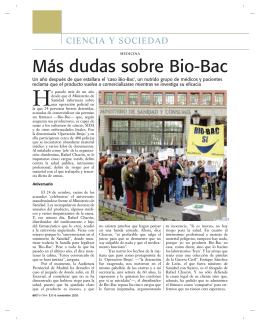 Más dudas sobre Bio-Bac
