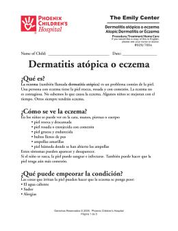 Dermatitis atópica o eczema - Phoenix Children`s Hospital