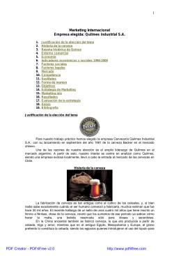 1. Justificación de la elección del tema 2. Historia de la cerveza 3