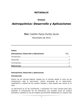 Astroquímica: Desarrollo y Aplicaciones