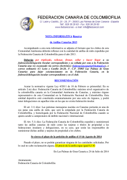 NOTA INFORMATIVA Reserva de Anillas Canarias 2015