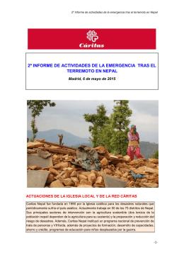 2º informe de actividades de la emergencia tras el terremoto en nepal
