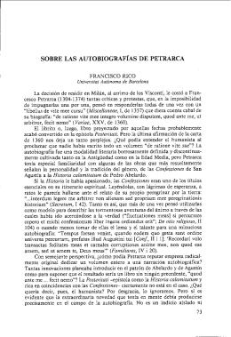 SOBRE LAS AUTOBIOGRAF~AS DE PETRARCA