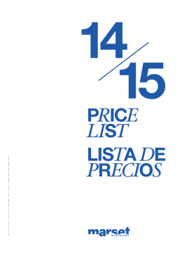 This Price List is valid until September 2015 / Tarifa vigente hasta