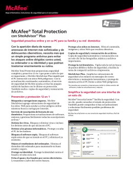 McAfee® Total Protection con SiteAdvisor™ Plus