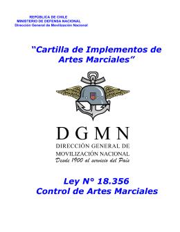 """""""Cartilla de Implementos de Artes Marciales"""" Ley N° 18.356"""