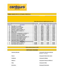 Validez desde el 01.11.14 hasta el 30.04.15 CENTAURO OFICINAS