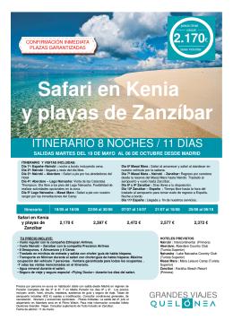 Safari en Kenia y playas de Zanzíbar