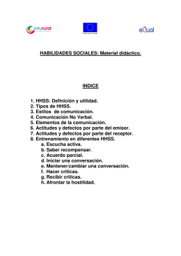 HABILIDADES SOCIALES: Material didáctico. INDICE 1. HHSS