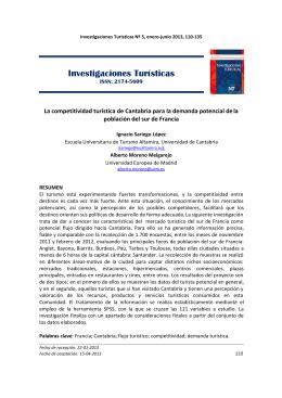 Investigaciones Turísticas - Turismo de cantabria