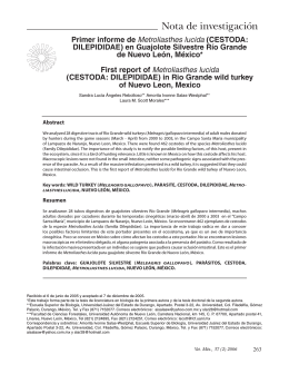 Primer informe de Metroliasthes lucida (CESTODA - FMVZ-UNAM