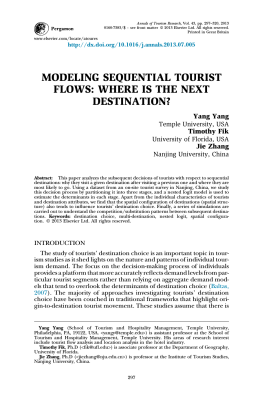 MODELING SEQUENTIAL TOURIST FLOWS: WHERE
