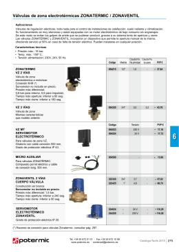 Válvulas de zona electrotérmicas y motorizadas pág. 275