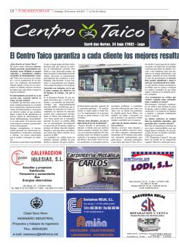 Reportaje de Taico con publicidad de Rocfit (La Voz de Galicia, Lugo)