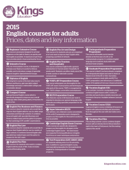 English Courses 2015 Prices and start dates PDF file, 185.12 KB