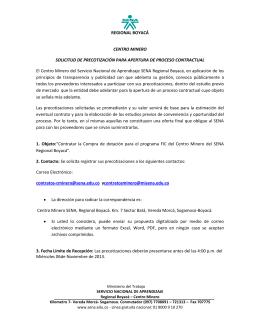 REGIONAL BOYACÁ CENTRO MINERO SOLICITUD DE