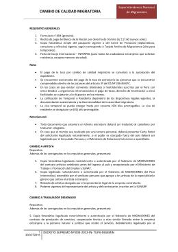 CAMBIO DE CALIDAD MIGRATORIA - Superintendencia Nacional