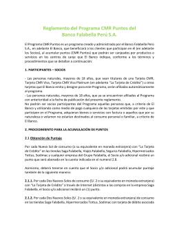 Reglamento del Programa CMR Puntos del Banco Falabella Perú S.A.
