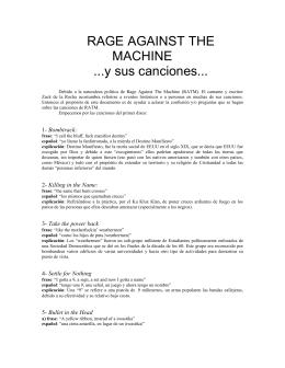 RAGE AGAINST THE MACHINE ...y sus canciones