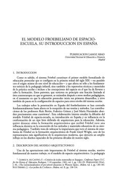 El modelo froebeliano de espacio-escuela. Su introducción en España