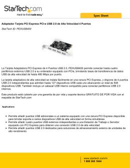 Adaptador Tarjeta PCI Express PCI-e USB 2.0 de