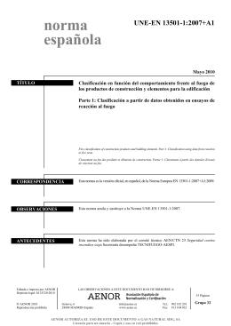 EN 13501-1:2007+A1 - TEMARIOS FORMATIVOS PROFESIONALES